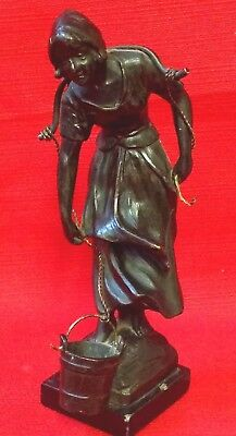 Antique 19th Century French Bronze Figurine, A Breton Girl, On A Slate Base 17cm