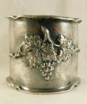 Vintage Silver Plate Embossed with Grapes Napkin Ring