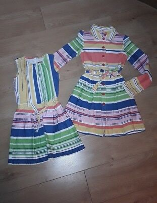 Oilily Multi Colour Duffalo Dress and Matching Coat Jacket Summer Striped Age 10