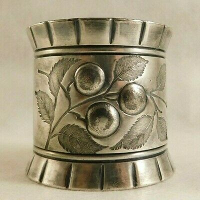 Vintage  Silver Plate Engraved Cherry Branch Napkin Ring