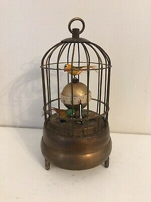 Superb Vintage Novelty Brass Mechanical Bird Cage Clock with Alarm