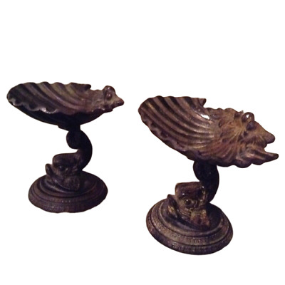 Pair Of Vintage French Or Italian Rococo Bronze Dishes With Seashell And Dolphin