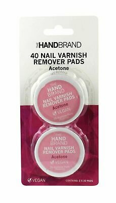 The HandBrand Nail Varnish Remover Pads Twin Pack of 20 Pads (40 Pads in total)