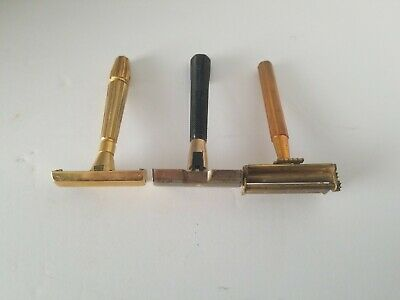 Vintage 1920's Gillette Old Type Safety Razor Sanitized lot of 3