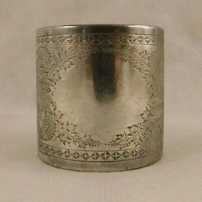 Vintage Silver plate engraved foliage napkin ring