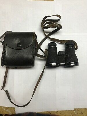 small vintage BAUSCH & LOMB binoculars with leather strap & case