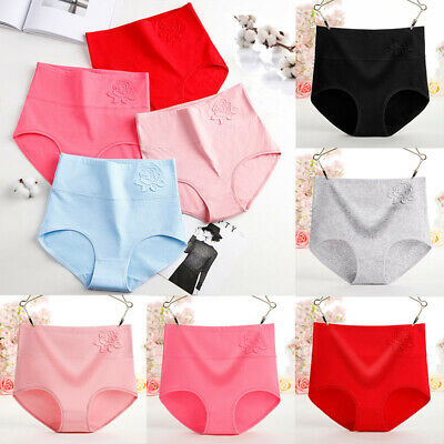 Women Large Soft Cotton Lingerie Briefs Panties Underpants High Waist Underwear