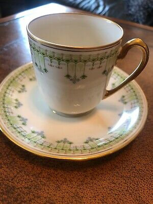 Antique Elite Works Limoges France Green Gold  Demitasse Cup & Saucer