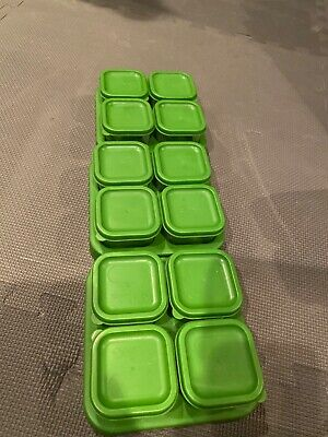 Lot of 3 Sets of Green Sprouts Glass Baby Food Storage Containers