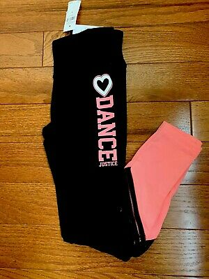 Nwt Justice Sports Colorblock  Dance Leggings Size 8