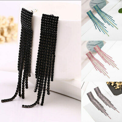 Charm Rhinestone Crystal Long Square Tassel Dangle Drop Earrings Ear Stud Gifts