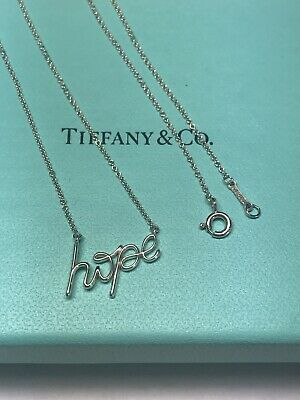 "Tiffany & Co Silver Paloma Picasso Graffiti ""Hope"" Pendant Necklace"