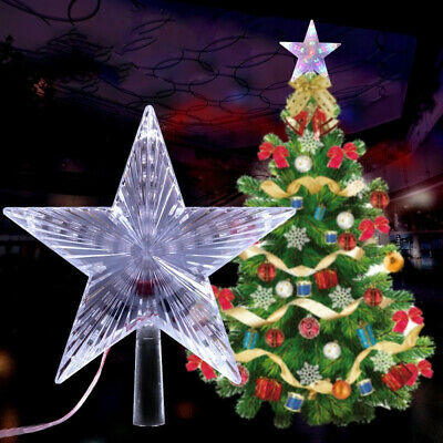 Battery Operated Christmas Tree top Topper LED Flashing 3D Star Light Decoration
