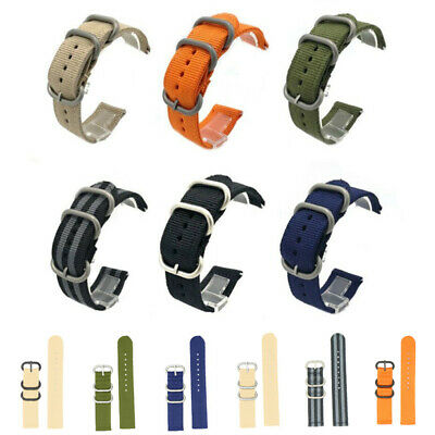Quick Release Military Woven Nylon Canvas Fabric Watch Band Strap Buckle 18-24mm