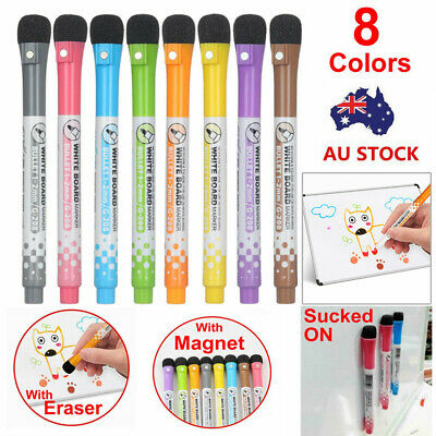 8 Color Non-toxic Painting Erasable Markers Mark Pen Magnetic Whiteboard Pen