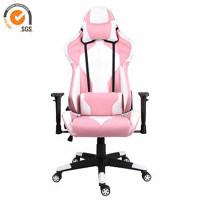Racing Gaming Computer Chair Executive Office Swivel Recliner Leather Chair Pink