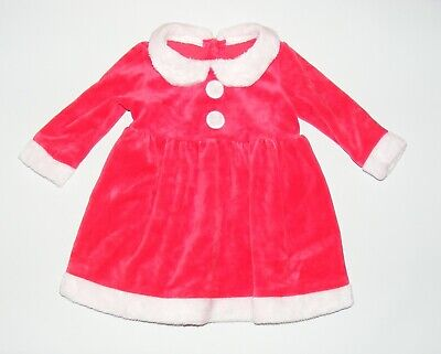 age 3-6 months Mothercare baby girls christmas dress long sleeve red velour fur