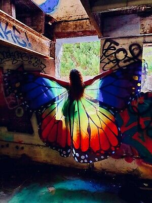 Huge Butterfly Wings Rainbow Costume Fancy Dress Fairy Party Show Photo Shoot