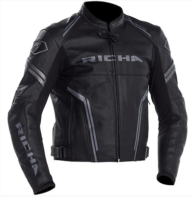 Richa Monza Black/Grey Leather Motorbike Motorcycle Jacket