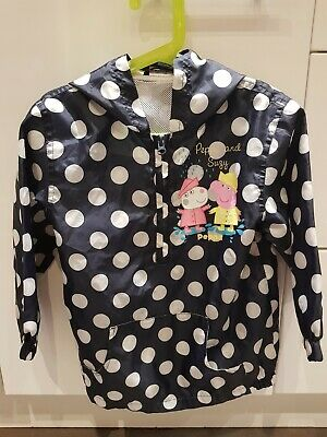 Girls Dark Blue with White Spots Peppa Pig Rain Coat Age 4/5 Years tiny pen mark