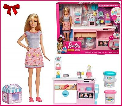Barbie Cake Decorating Playset Blonde Doll Baking Counter Toy Icing Pieces Gift