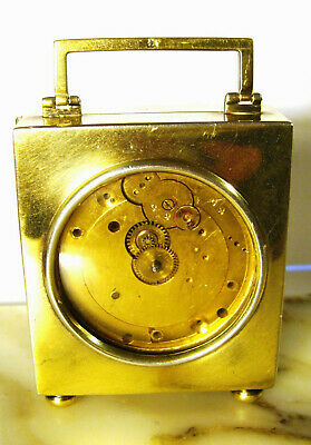 Antique JC Vickery Gold Vermeil Over Sterling Carriage Clock London 1911