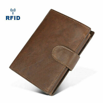 Mens RFID Blocking Genuine Leather Wallet Trifold Purse Coin Card Large Travel