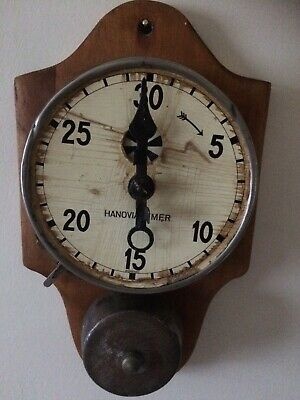 Antique Hanovia Mechanical Kitchen Wall Clock Timer with Alarm. Working.Rare.