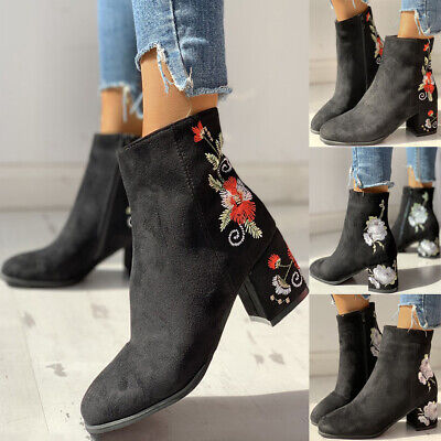 Women Faux Suede Floral Ankle Boot Ladies Casual Block Chunky Heel Zip Shoes UK