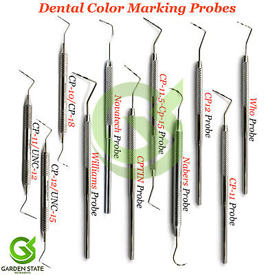 Range Of Dental Examination Probes William Colour Coded Pocket Depth Measuring