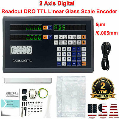 2 Axis Digital Readout DRO TTL Linear Encoder for Milling Lathe Display 5µm US