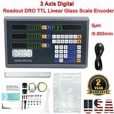 3 Axis Digital Readout DRO TTL Linear Encoder for Milling Lathe Display 5µm US