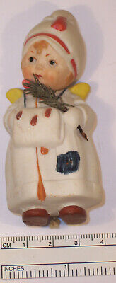 Antique Adorable German Bisque Christmas Angel Nodder Figurine Doll Snow Baby