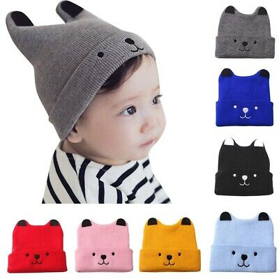 Toddler Kids Hats Girls&Boys Baby Cartoon Bear Warm Crochet Knit Beanie Cap Hats