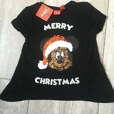 bnwt girls mickey mouse brushed sequins christmas t-shirt age 5-6 years