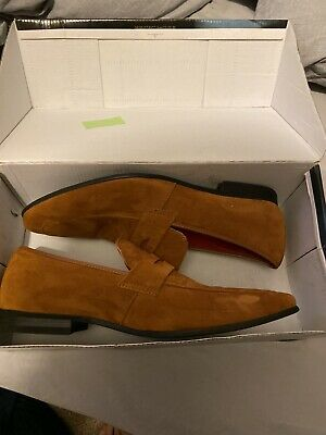 Men's Suede Tan Loafers, They Say Size 8 But Are A Size 9!!!!Worn Once, With Box