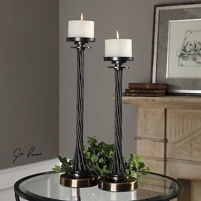 Twisted Aged Black Iron Pillar Candle Holder Brass Detail Industrial Modern