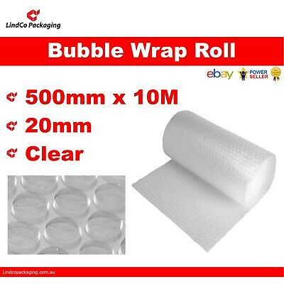 P20 Clear Bubble wrap Air Cushioning Roll 500mm x 10Metre (20mm) Large Bubble