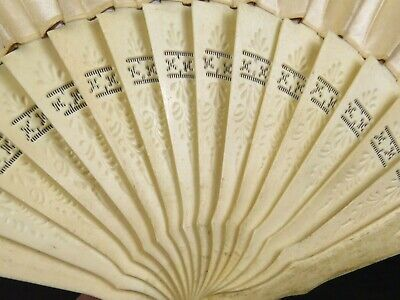 Antique Hand Carved Silk Fan Pierced with Silk Excellent Condition