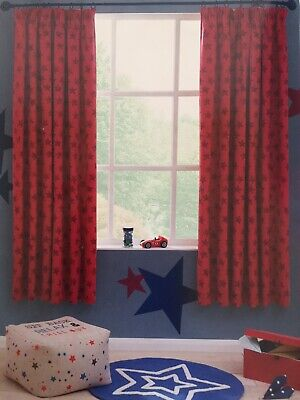 NEXT Kids/Boys Red Bedroom Star Curtains. Black Out Lining. RRP £50