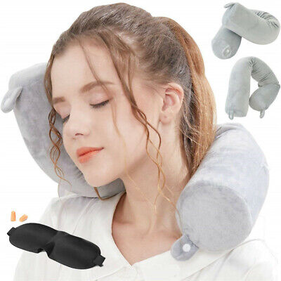 Portable Memory Foam Travel Pillow Neck Support Head Rest Airplane Cushion CA