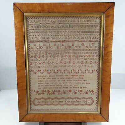 Antique 19th Century Alphabet & Verse Needlework Sampler By Amelia Gamson 1850