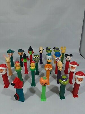 Lot Of 23 Pez Dispensers Holiday, Santas, Mickey Mouse, Peanuts ect B