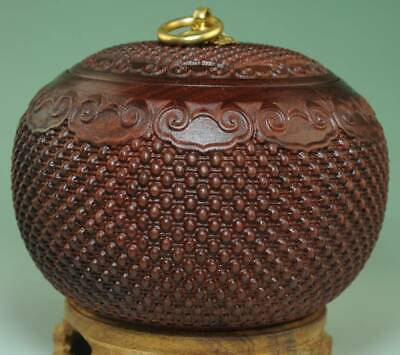 Fine China Red Sandalwood Carved Circular Jar Pot Kettle Tea Canister Caddy Ae0J