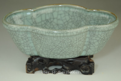 Old chinese Longquan cyan porcelain natural cracked glaze brush washer /Db01J