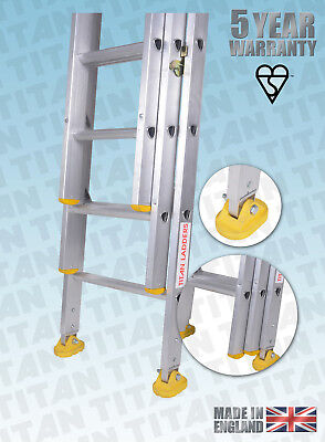 Titan Aluminium Classic Trade Ladders - With Fitted Swivel Feet - Double, Triple