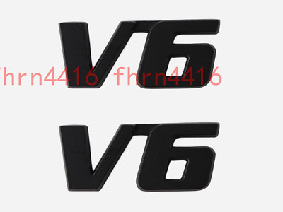 2x Metal Matte Black V6 Vintage Trunk Metal Emblem Badge Decal Sticker 4WD Sport
