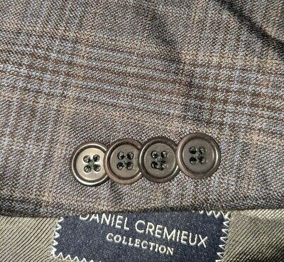 52L Blue Brown Prince of Wales Plaid Tooth Check 2-vent Jacket Blazer SportCoat