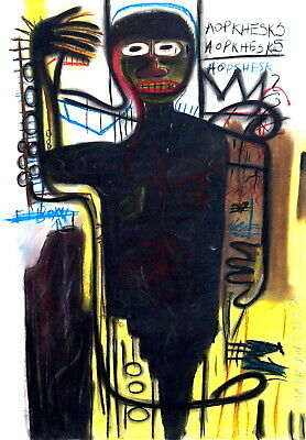 JEAN MICHEL BASQUIAT AUTHENTIC PASTEL on PAPER, ART DRAWING SIGNED and DATED 82