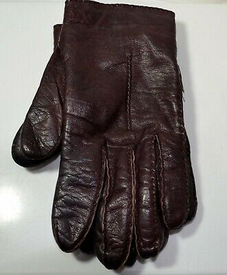 Ladies Aris Size L Warm Lined Brown Soft Leather Winter Gloves Wrist